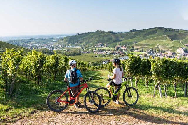 Radfahren_Radler-abgestiegen-mit-Blick-auf-Durbach-in-Richtung-Rheinebene
